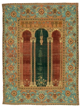 An example, from the late 1500s, of a prayer-rug, not unlike the sort our author would have used and had in mind in writing this passage.