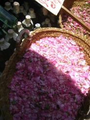A basket of rose petals and bottles of rosewater, Fes, 2008.