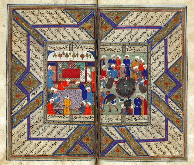 """Prayers in a Mosque"" Miniature from Kulliyat-i Mawlana Ahli Shirazi (Collected Works of Mawlana Ahli Shirazi) Shiraz, Iran; c. 1550"