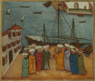 Şeyh Gülşenî (at center on the left), a 15th into 16th century Ottoman saint, bids some of his disciples and khalīfas farewell at a dock, illustrating the relationship between a saintly shaykh and his disciples also on display in the below story from another Ottoman context. From an 18th century illustrated copy of Ata'is Hamse (Walters 666.41A)