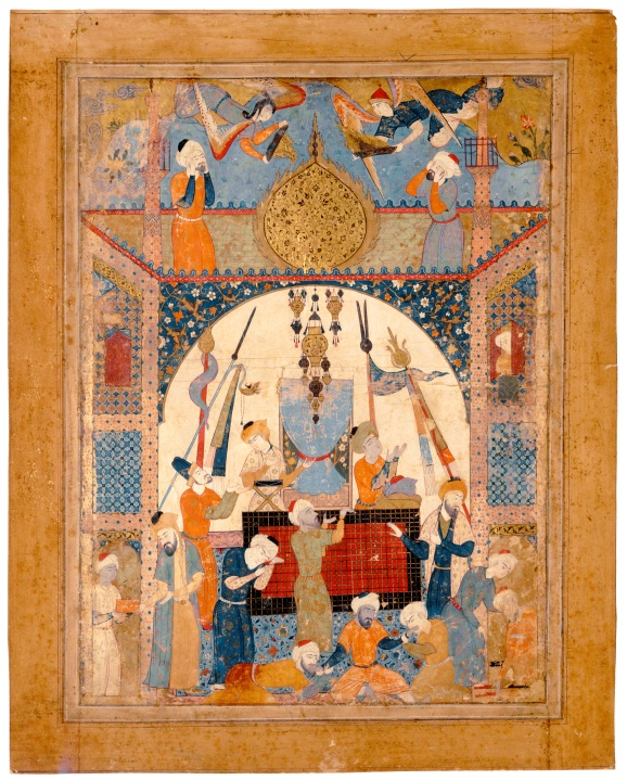 "Miniature from a copy of Jafar al-Sadiq's Falnama. ""Scene From a Mausoleum"" Iran, Tabriz or Qasvin; c. 1550.jpg"