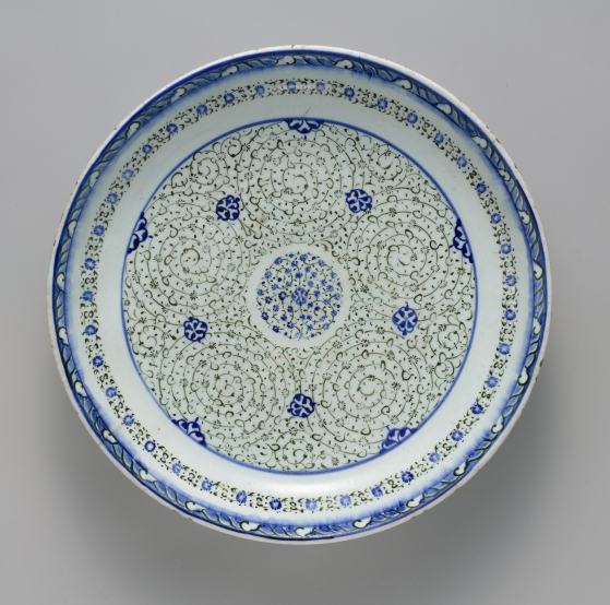 Dish with 'Tughra-illuminator' Design,ca. 1540–50