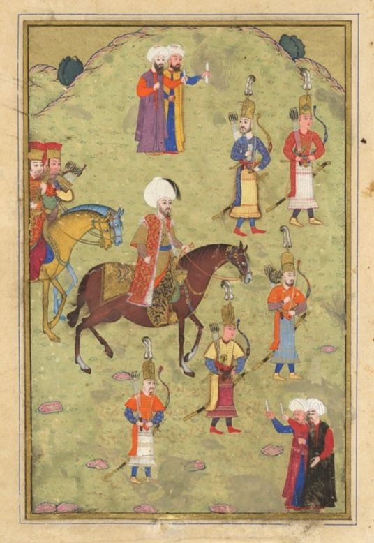 Sultan Murad III (r1574-1595) on Horseback (painting recto text verso) illustrated folio from a manuscript of the Javahir al-Gharaib Tarjomat Bahr al-Ajaib (Gems of Marvels- A Translation of the Sea of Wonders) of Jennabi (Cennabi)